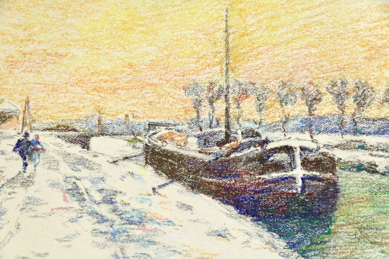 Canal at Douai-Winter - 19th Century Watercolor, Boat in Snow Landscape by Duhem For Sale 1