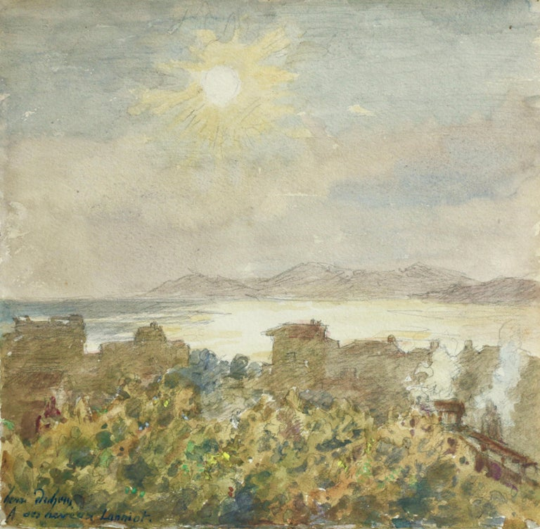 Henri Duhem Landscape Art - Juan les Pins - 19th Century Watercolor, Lake & Mountain Landscape by H Duhem