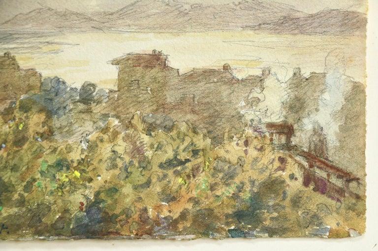 Juan les Pins - 19th Century Watercolor, Lake & Mountain Landscape by H Duhem - Impressionist Art by Henri Duhem