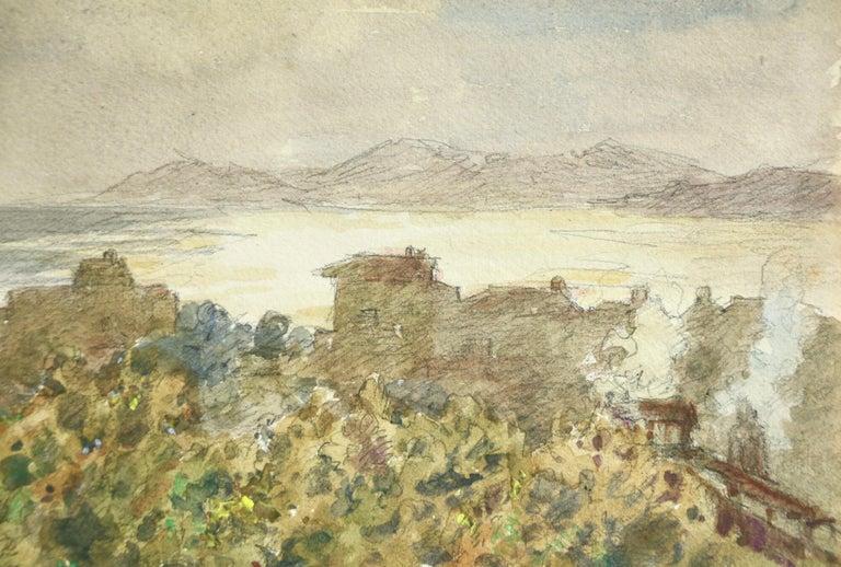 Juan les Pins - 19th Century Watercolor, Lake & Mountain Landscape by H Duhem - Beige Landscape Art by Henri Duhem