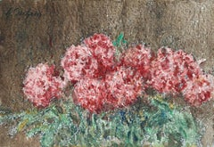 Fleurs Roses - 19th Century Watercolour, Still Life Pink Flowers by Henri Duhem