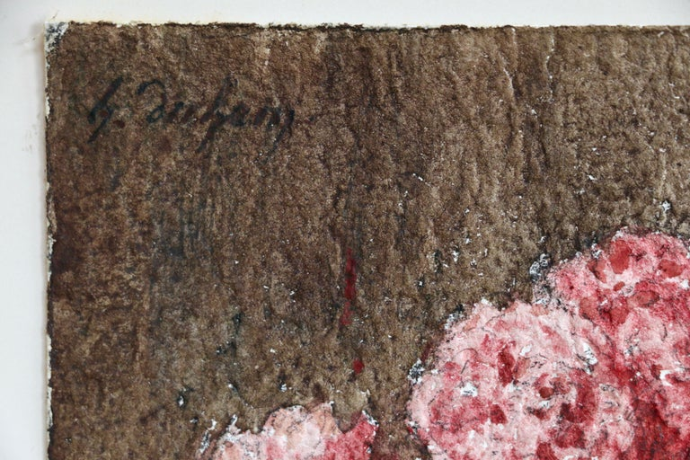 Fleurs Roses - 19th Century Watercolour, Still Life Pink Flowers by Henri Duhem For Sale 1
