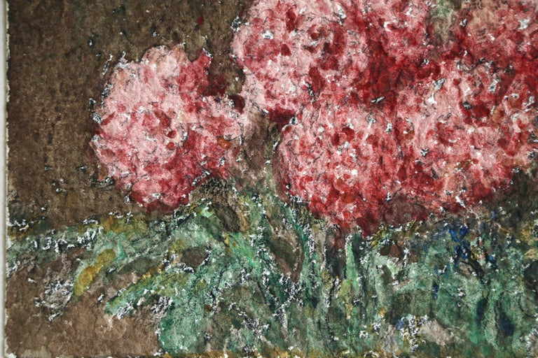Fleurs Roses - 19th Century Watercolour, Still Life Pink Flowers by Henri Duhem For Sale 4
