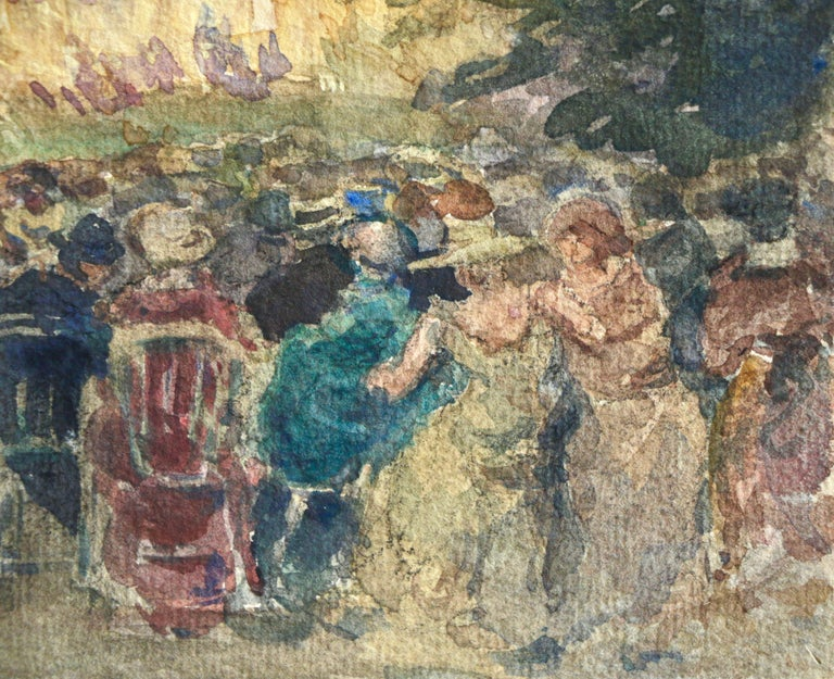 Feux d'artifice - 19th Century Watercolor, Elegant Figures at Fireworks by Duhem For Sale 2