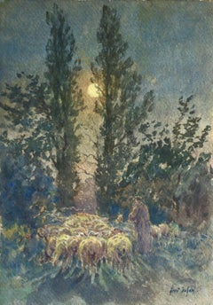 Flock by Moonlight- 19th Century Watercolor, Sheep at Night Landscape by Duhem
