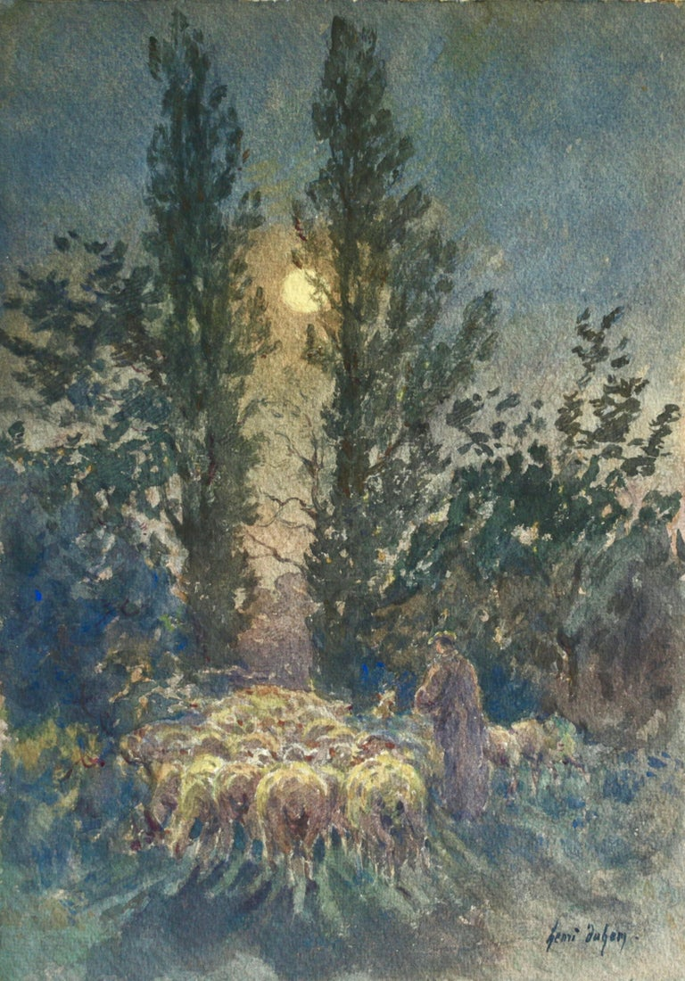 Henri Duhem Animal Art - Flock by Moonlight- 19th Century Watercolor, Sheep at Night Landscape by Duhem