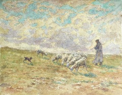 Sheep Droving - 19th Century Watercolor, Shepherd & Flock in Landscape by Duhem