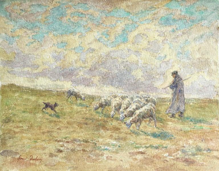 Henri Duhem Animal Art - Sheep Droving - 19th Century Watercolor, Shepherd & Flock in Landscape by Duhem