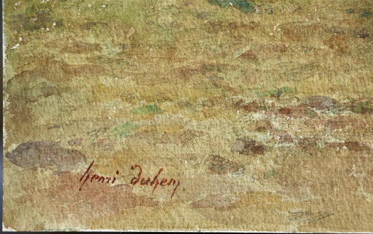 Sheep Droving - 19th Century Watercolor, Shepherd & Flock in Landscape by Duhem - Art by Henri Duhem