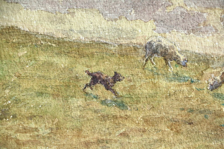 Sheep Droving - 19th Century Watercolor, Shepherd & Flock in Landscape by Duhem - Impressionist Art by Henri Duhem