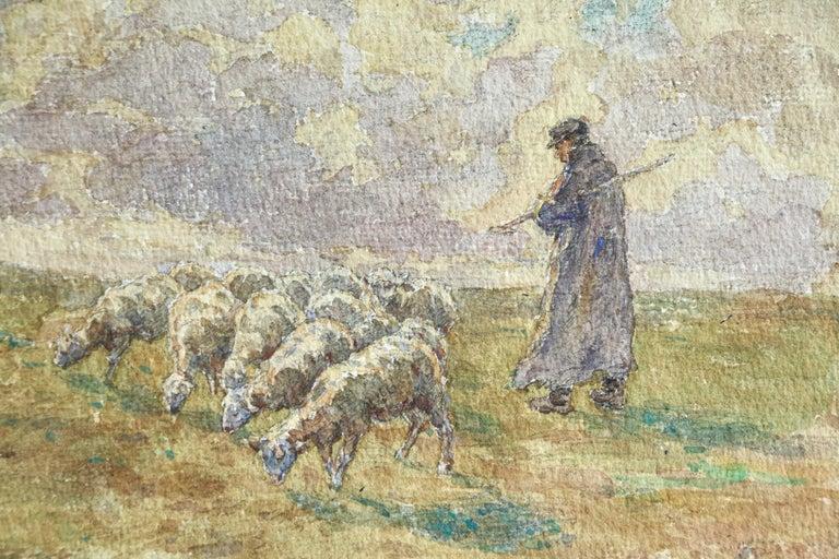 Sheep Droving - 19th Century Watercolor, Shepherd & Flock in Landscape by Duhem - Beige Animal Art by Henri Duhem