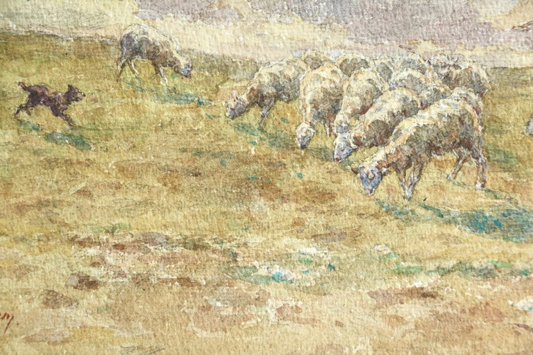Sheep Droving - 19th Century Watercolor, Shepherd & Flock in Landscape by Duhem For Sale 1
