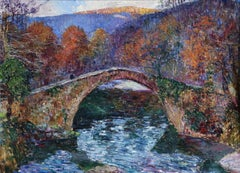 Bridge in the Basque Country - 20th Century Oil, River Landscape by LBH Floutier