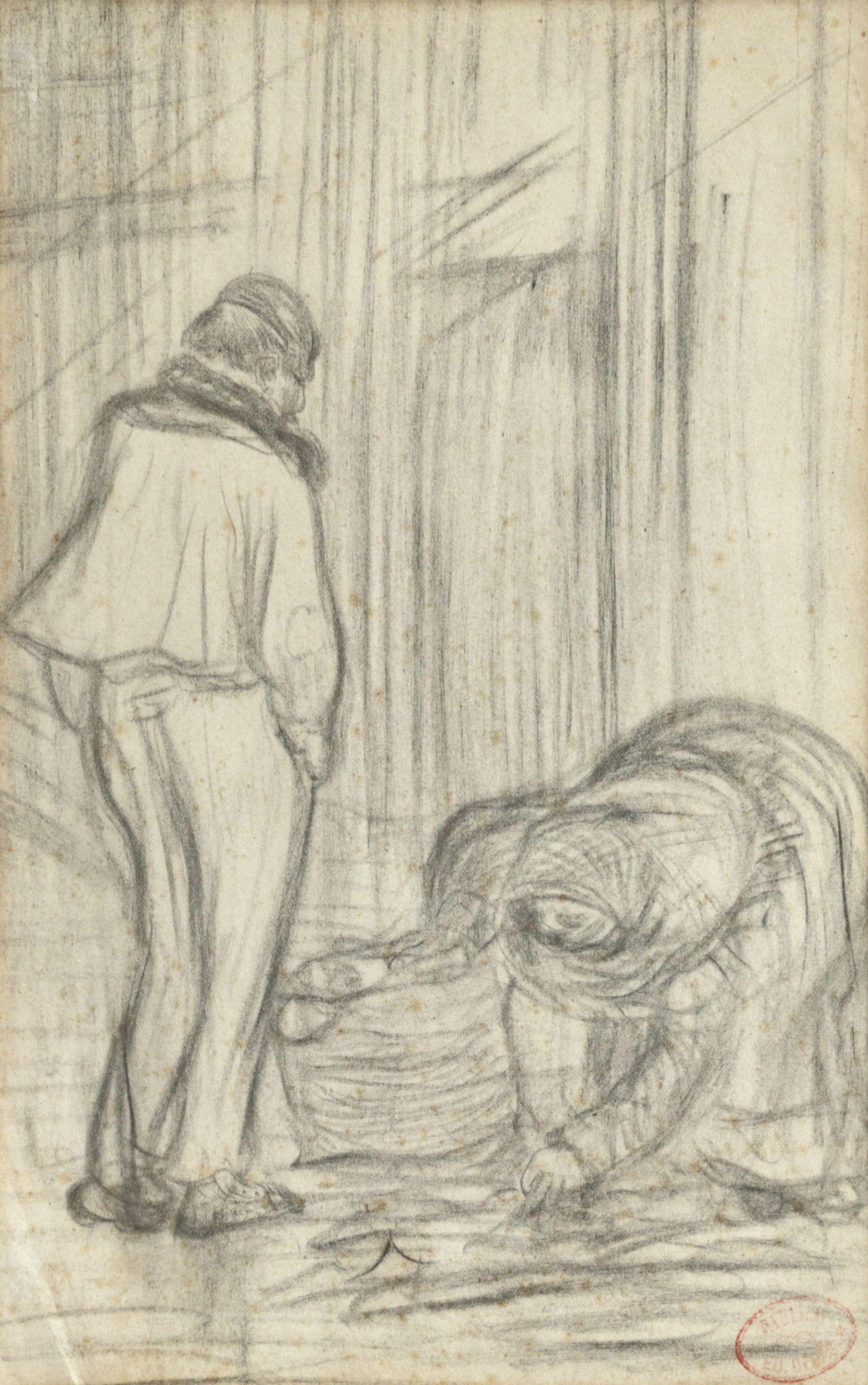 Les Chiffonniers - 19th Century Drawing, Figures in Interior by Edgar Degas