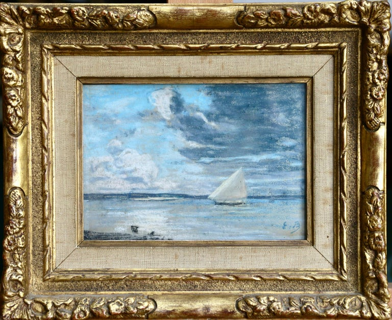 Boat off the Coast - 19th Century Marine Pastel, Boat at Sea by Eugene Boudin - Art by Eugène Louis Boudin