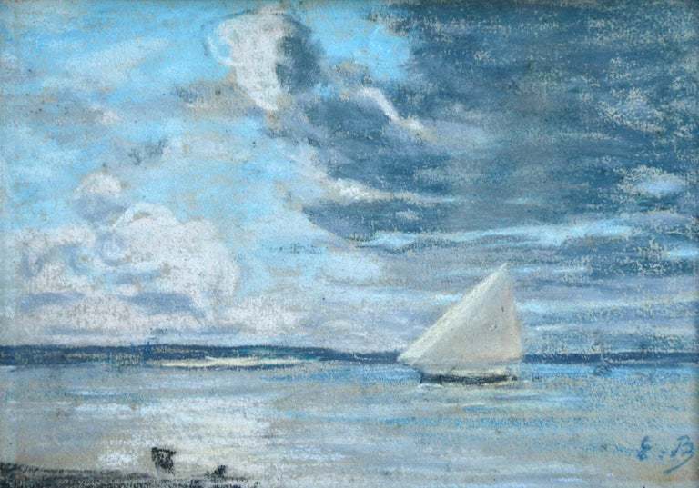 Eugène Louis Boudin Landscape Art - Boat off the Coast - 19th Century Marine Pastel, Boat at Sea by Eugene Boudin