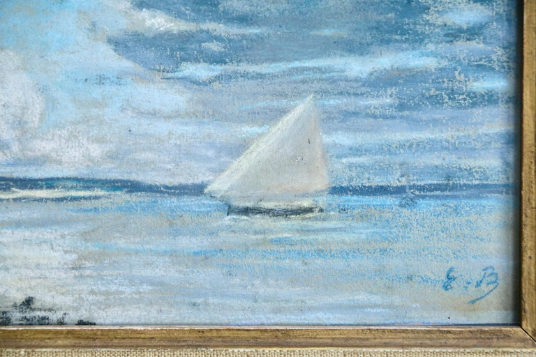 Boat off the Coast - 19th Century Marine Pastel, Boat at Sea by Eugene Boudin - Impressionist Art by Eugène Boudin
