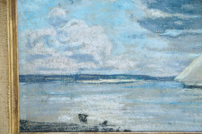 Boat off the Coast - 19th Century Marine Pastel, Boat at Sea by Eugene Boudin - Blue Landscape Art by Eugène Boudin