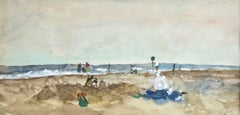 Elegantes sur la Plage - 20th Century Watercolor, Figures in Seascape by Gernez