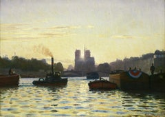 Sunrise - Notre Dame de Paris - 19th Century Oil,  Boats on River by C Guillox
