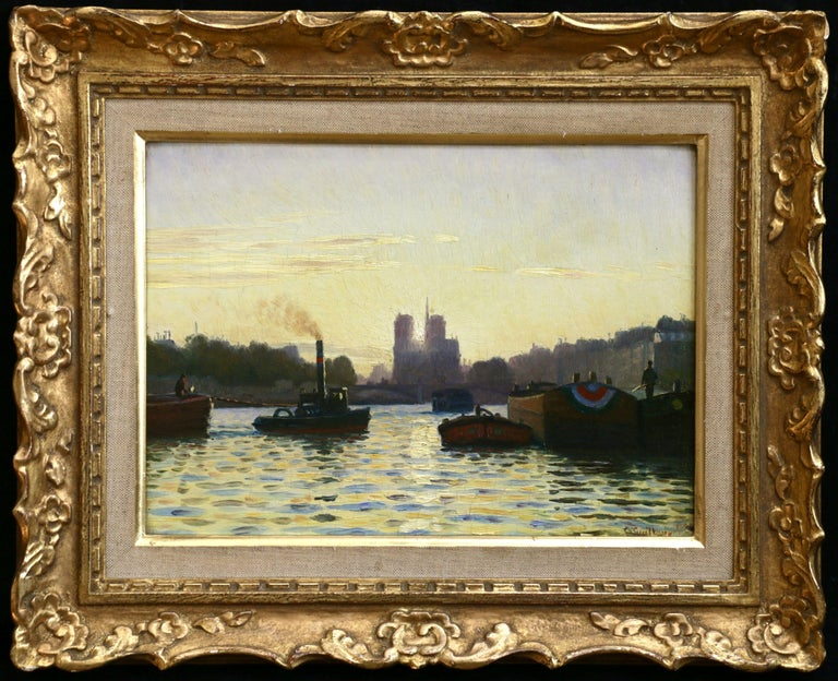 Sunrise - Notre Dame de Paris - 19th Century Oil,  Boats on River by C Guillox - Painting by Charles-Victor Guilloux