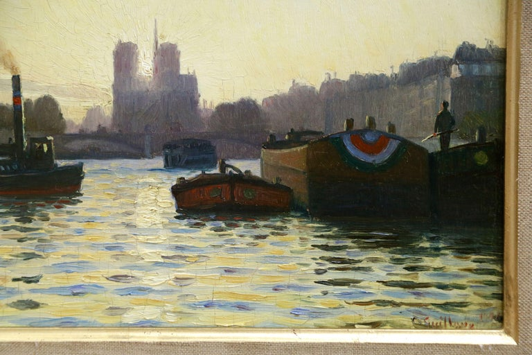 Sunrise - Notre Dame de Paris - 19th Century Oil,  Boats on River by C Guillox - Impressionist Painting by Charles-Victor Guilloux