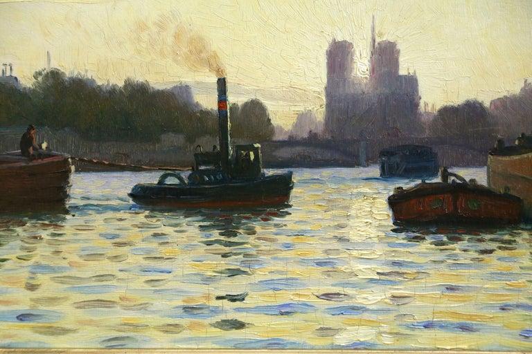 Sunrise - Notre Dame de Paris - 19th Century Oil,  Boats on River by C Guillox - Beige Landscape Painting by Charles-Victor Guilloux