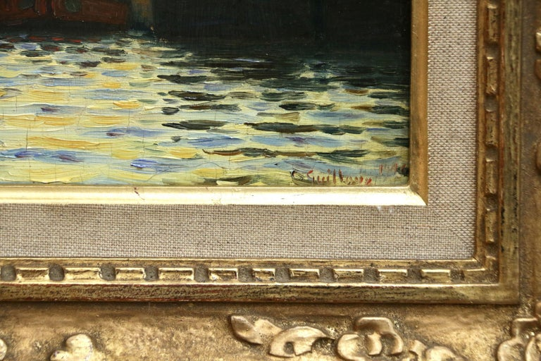 A simply beautiful oil on board by Charles-Victor Guilloux depicting the sun rising over the famous Notre Dame Cathedral, Paris while boats sail along the River Seine. Signed and dated 1906 lower right and further signed and titled verso. Framed