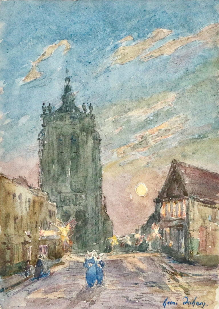 A beautiful watercolour circa 1910 by French painter Henri Duhem depicting nuns and other figures in a street lit up by street lamps, a church in the background. Signed lower left. This painting is not currently framed but a suitable frame can be