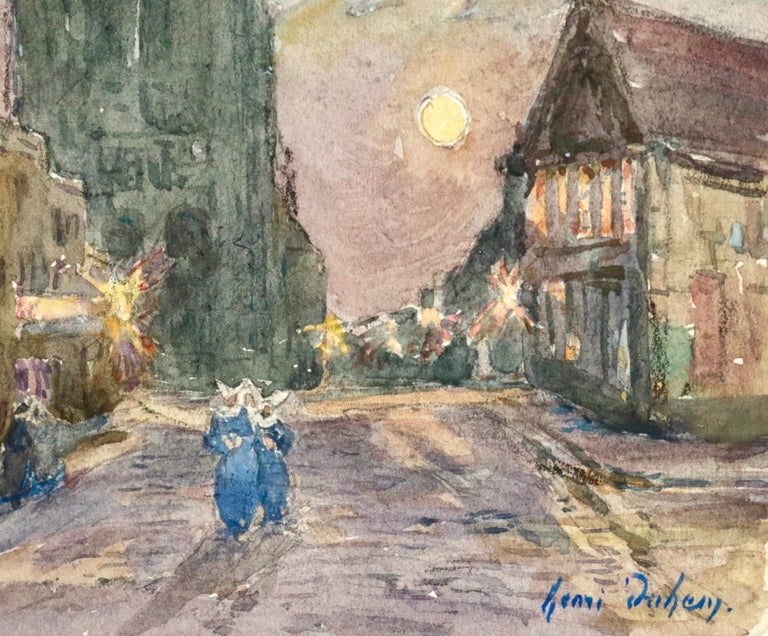 L'Église - 19th Century Watercolor, Figures in Street by Church by Henri Duhem For Sale 1