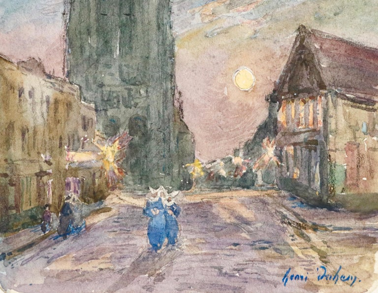 L'Église - 19th Century Watercolor, Figures in Street by Church by Henri Duhem For Sale 2