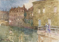 Canal - Evening - 19th Century Watercolor, Elegant Figures by Water by H Duhem