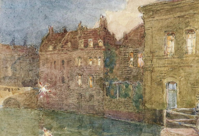 Canal - Evening - 19th Century Watercolor, Elegant Figures by Water by H Duhem - Brown Figurative Art by Henri Duhem