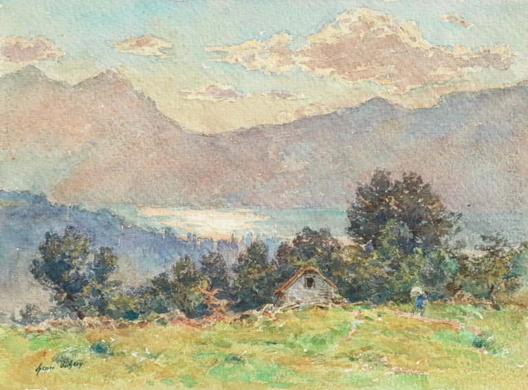 Watercolour on paper circa 1925 by French painter Henri Duhem, depicting a figure by a house overlooking Lac Neuchâtel in Switzerland and mountains beyond. Signed lower left. This painting is not currently framed but a suitable frame can be sourced