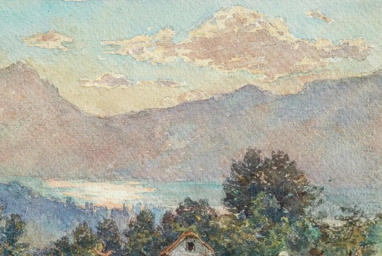 Lac Neuchâtel - 19th Century Watecolor, Lake & Mountain Landscape by Henri Duhem For Sale 1