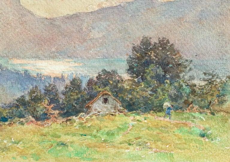 Lac Neuchâtel - 19th Century Watecolor, Lake & Mountain Landscape by Henri Duhem For Sale 2