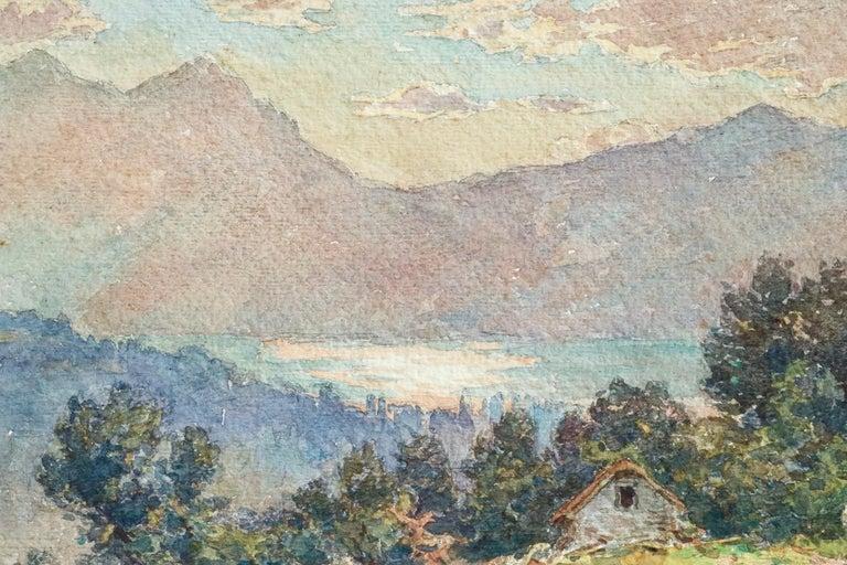 Lac Neuchâtel - 19th Century Watecolor, Lake & Mountain Landscape by Henri Duhem For Sale 3
