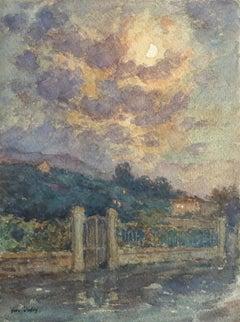 Clair de Lune - 19th Century Watercolor, Moonlight over Landscape by Henri Duhem