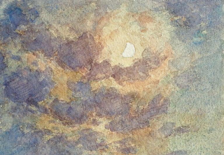 Clair de Lune - 19th Century Watercolor, Moonlight over Landscape by Henri Duhem For Sale 1
