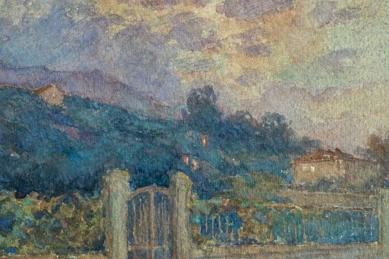 Clair de Lune - 19th Century Watercolor, Moonlight over Landscape by Henri Duhem For Sale 2