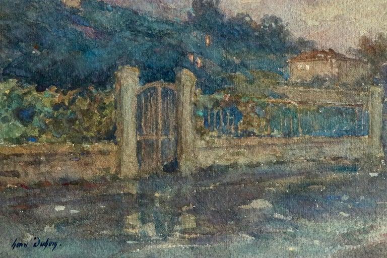 Clair de Lune - 19th Century Watercolor, Moonlight over Landscape by Henri Duhem For Sale 3