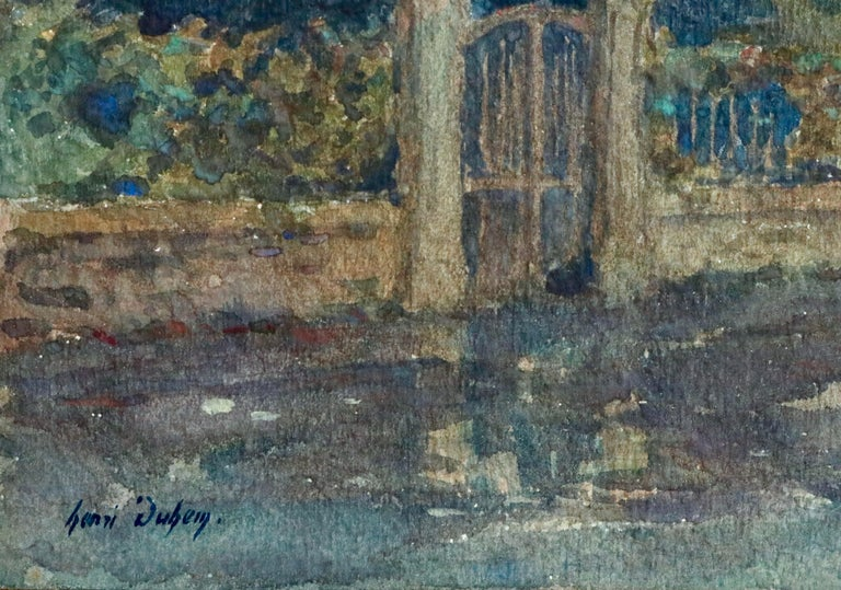 Clair de Lune - 19th Century Watercolor, Moonlight over Landscape by Henri Duhem For Sale 4