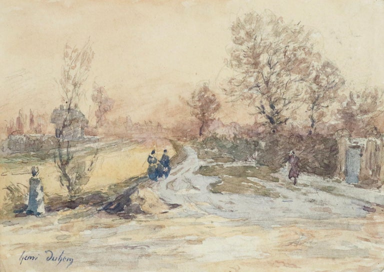 Henri Duhem Landscape Art - Douai Canal-Hiver - 19th Century Watercolor, Figures in Snow Landscape by Duhem