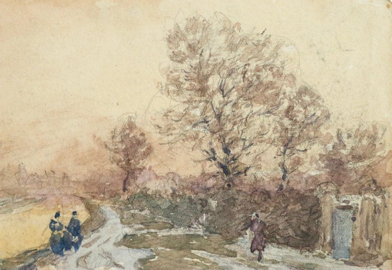 Douai Canal-Hiver - 19th Century Watercolor, Figures in Snow Landscape by Duhem - Art by Henri Duhem