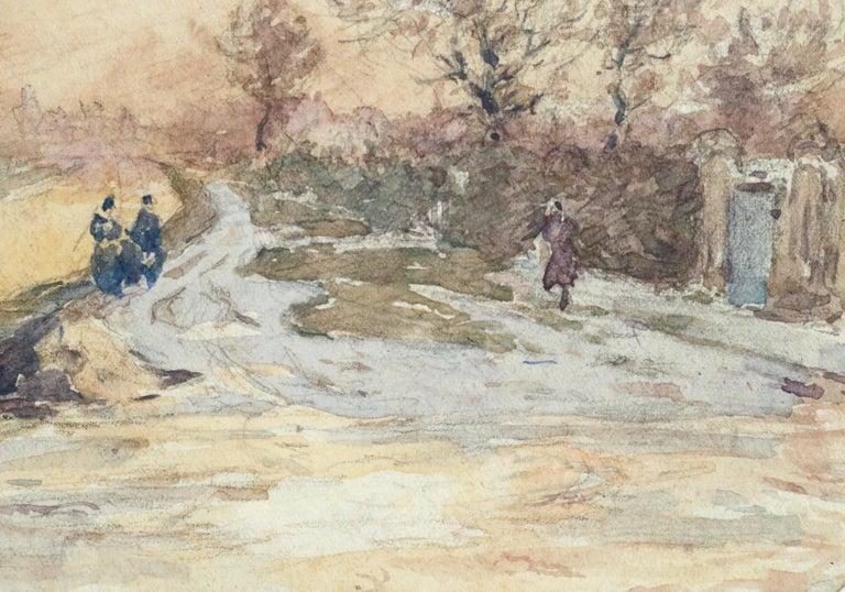Douai Canal-Hiver - 19th Century Watercolor, Figures in Snow Landscape by Duhem - Impressionist Art by Henri Duhem