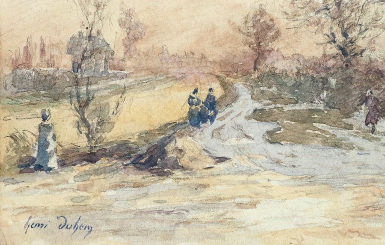 Douai Canal-Hiver - 19th Century Watercolor, Figures in Snow Landscape by Duhem - Beige Landscape Art by Henri Duhem