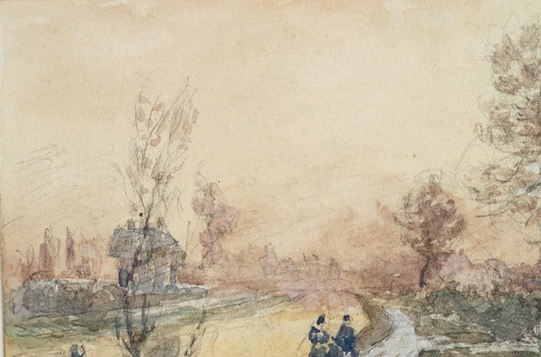 Watercolour on paper by French painter Henri Duhem depicting figures on a path by a canal on a winter's day. Signed lower left. This painting is not currently framed but a suitable frame can be sourced if required.  Descendant of an old Flemish