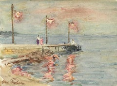 The Harbour-Evening - 19th Century Watercolor, Figures by Sea Landscape by Duhem