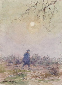 L'homme - 19th Century Watercolor, Figure in Landscape by Henri Duhem