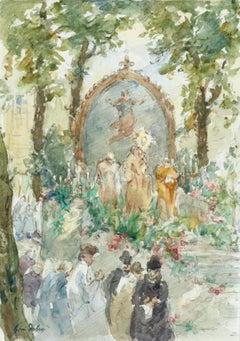 La Cérémonie - Watercolor on Paper, Figures at Religious Ceremony by Henri Duhem